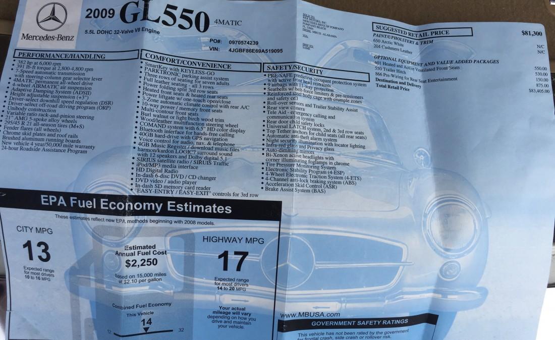 2009 Mercedes GL550